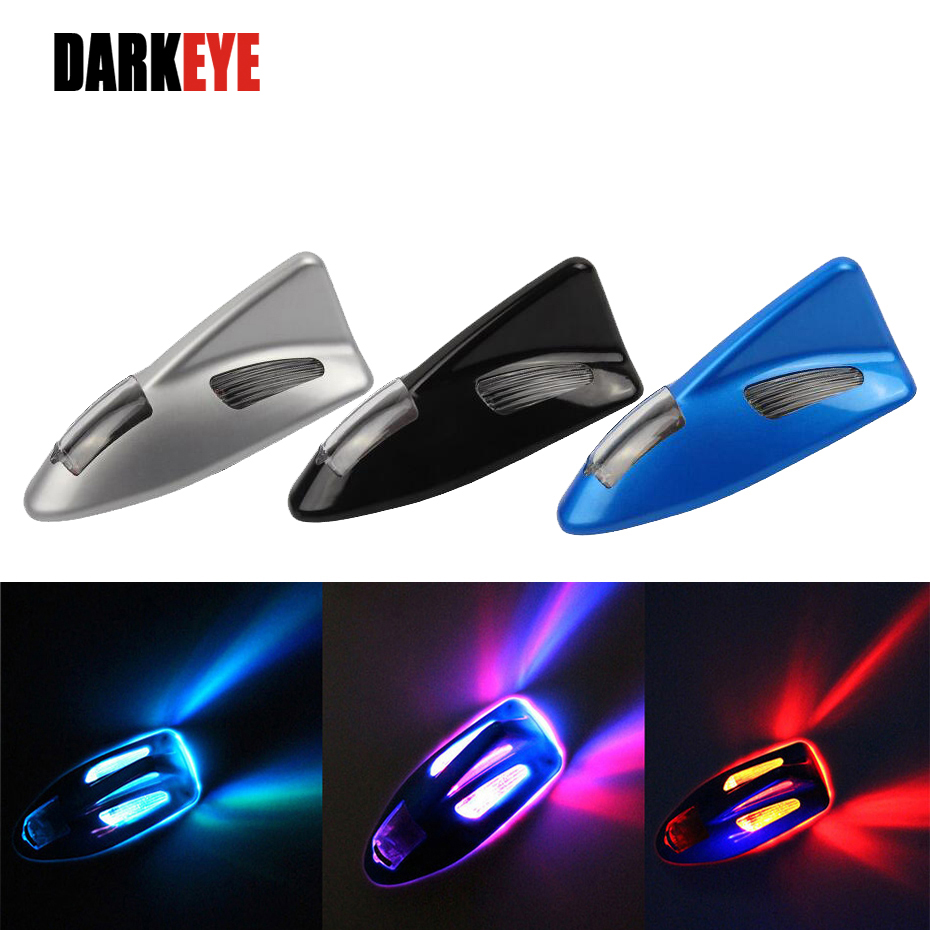 1 Stykke Shark Fin Solar Automobile Anti Collision Anti-bagenden LED Bil Advarselslampe Dekoration Strobe Pære BJ
