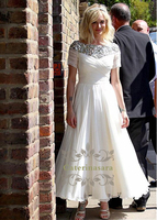 Ankle Length Wedding Dresses Light Tulle Beach Bride Gowns Garden Wedding Pleat Bodies with Sequined Top V Shape Back Zip Closed