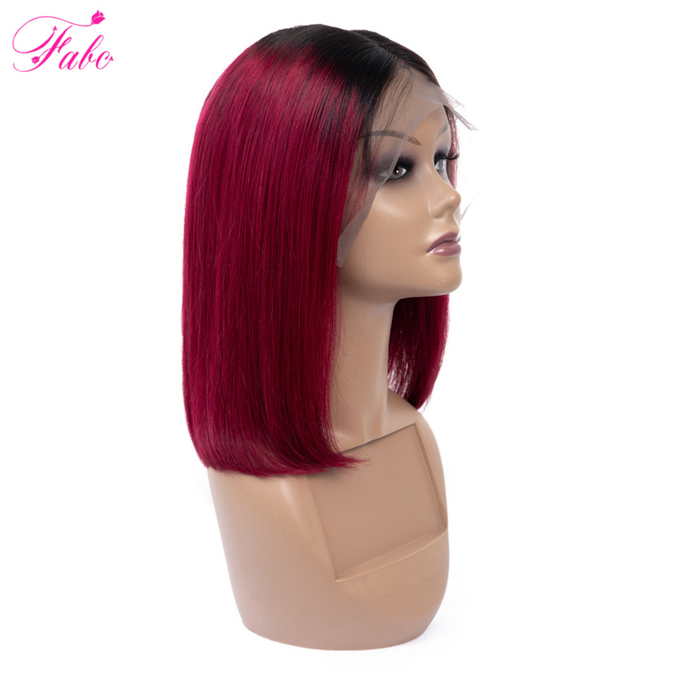 FABC Hair 1B 99J Burgundy Glueless Lace Front Human Hair Wigs Red Brazilian Ombre Short Bob