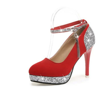 2016  sexy woman High-heeled shoes fashion elegant platform thick with Buckle Strap Glitter ladies wedding pumps Plus size 34-39