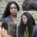 Dianteira do laço Peruca Virgem Encaracolado Cabelo Malaio Dianteira Do Laço Do Cabelo Humano Peruca Mulheres Negras Frete Grátis Por DHL