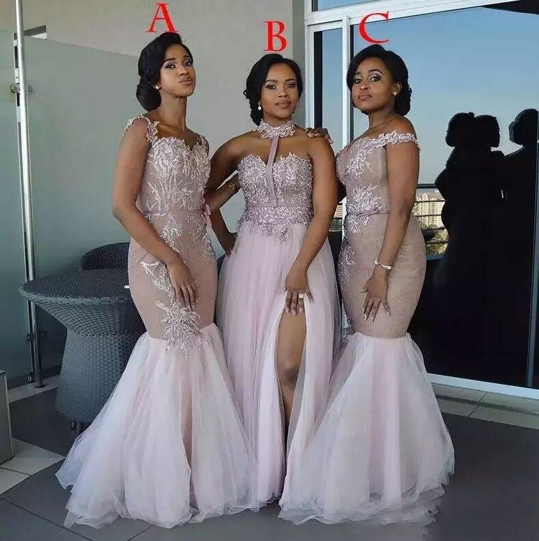 Vestidos de dama de Honor africanos largos de estilo mixto apliques fuera del hombro sirena vestido de graduación Split Side Maid Of Honor vestidos de noche W