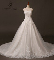 New Designer Sweetheart Wedding Dresses 2014 Sexy Applique Lace Long Bridal Gowns New Arrival