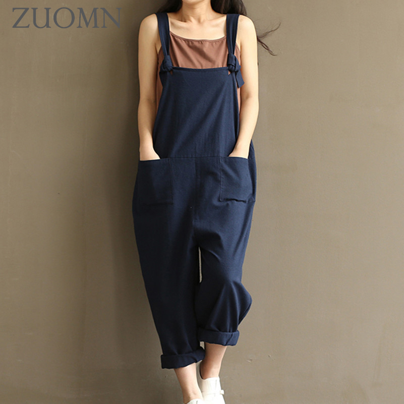 Women 2017 Jumpsuits Casual Solid Loose Overall Jumpsuit Ladies Solid Color Romper Overralls Fashion Womens Jumpsuits Y157