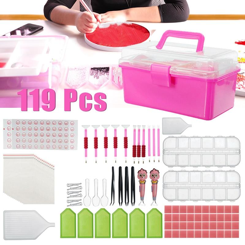 119Pcs 5D Diamond Painting Tool Diamond Embroidery Accessory Full Kit Pen Glue Tweezer with Storage Box DIY Rhinestone Craft Set