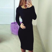 2019 Women's Summer Beach Dress Casual O-Neck Long Sleeve Slim Fitting Bodycon Cocktail Party Club Solid Summer Dress