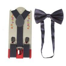 Children Suspenders Bowtie Set Baby Boys Girls 2.5cm Wide Brown Bow Tie Kids Braces