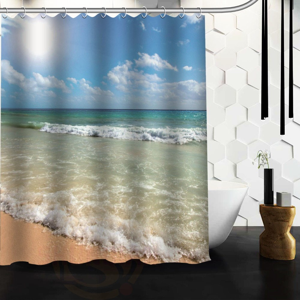 Custom Summer Beach Blue Sea Palm Tree Sunshine Antibacterial Waterproof  Shower Curtain 66u0026quot; X 72u0026quot