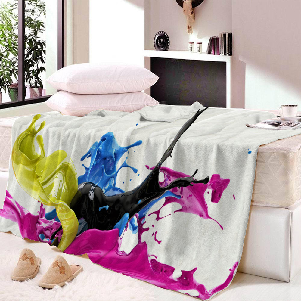 Colourful Blanket for Kids Adults Cartoon Colorful Plush Throw Blanket Sofa Thin Quilt Christmas Decorations for Home Dropship in Blankets from Home Garden