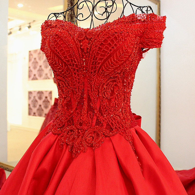 Red Ball Gown Wedding Dresses: Luxury Red Ball Gown Wedding Dress Gold Lace Applique