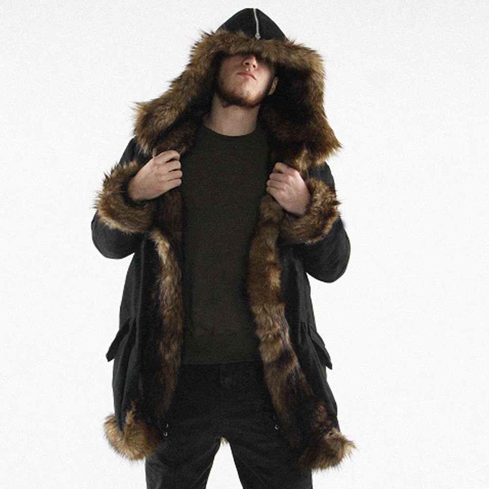 JAYCOSIN Outwear Hooded Jacket Coat Parka Thickening Mens Warm Plus Long Faux-Fur