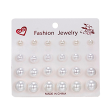 12 pairs/set White Simulated Pearl Earrings Set For Women Jewelry Accessories Piercing Ball Stud Earrings Pearl kit brincos New
