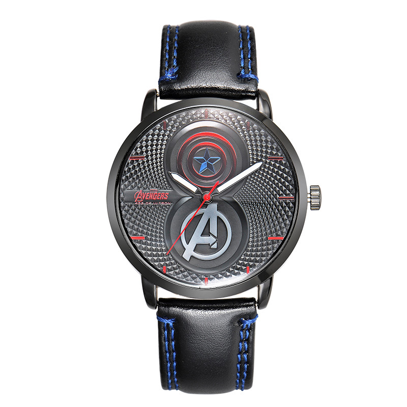 Disney brand mens watches students boys waterproof luminous quartz wristwatch leather Iron Man Captain America casual man clocks 100% genuine disney fashion children watches for boys students captain america iron man leather watch strap luxury brand design