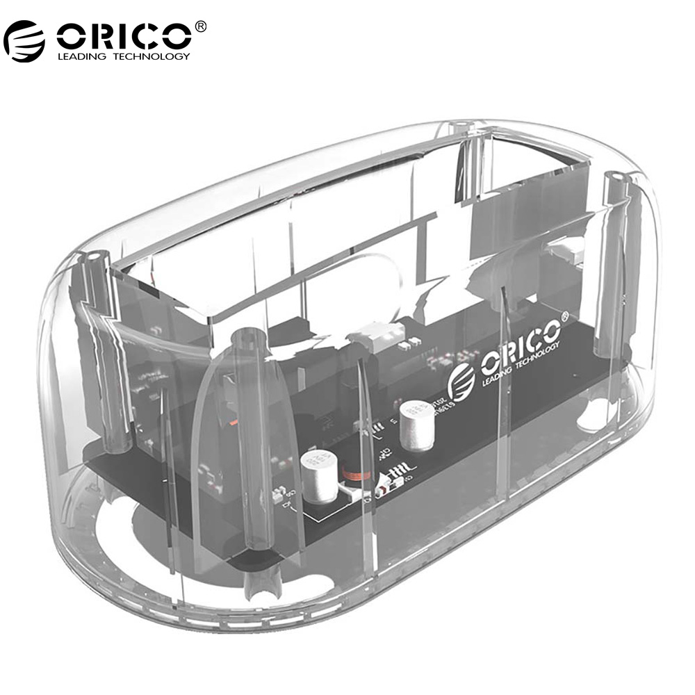 ORICO 2.5/ 3.5 HDD Transparent Docking Station Support 8TB Storage UASP Protocol USB 3.0 to SATA 3.0 Hard Drive Enclosure