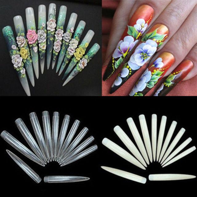 50pcs Super Long Sharp Stiletto Salon False Nail Tips for Acrylic UV Gel Nail Art Length : 6.9 – 9.2cm White Transparent Natural