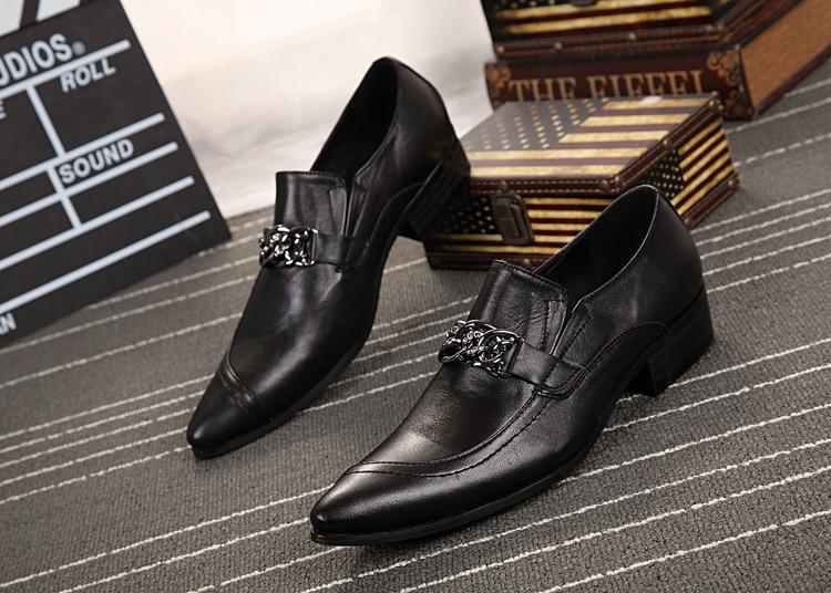 2018 spring autumn Fashion black flats pointed toe mens dress shoes italian genuine leather wedding shoes men office suit shoe