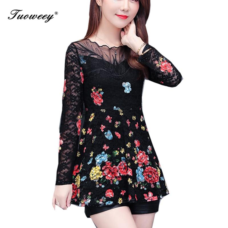 2019 New Arrival Fashion spring long sleeve Slim floral long Shirt Female Casual Slim Color Plus Size elegant Printed Blouse