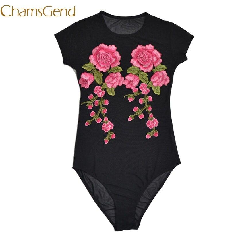 Chamsgend Винтаж аппликации Embriodery цветок сексуальное боди Для женщин короткий рукав круглый Средства ухода за кожей шеи плотно черный комбинез...