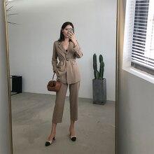 Outono Blazer Terno Mulheres Negócio 2 peça Definir Cáqui Cintura Correia da Faixa Uniforme de Manga Comprida Blazer e Calça Lápis OL ternos