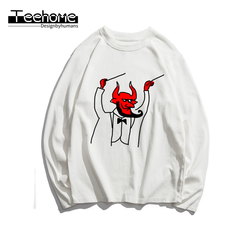 Men's Satanic Goat Baphomet Print Long Sleeve Autumn Men and Women Full Sleeve Harajuku T Shirt Winter Streetwear