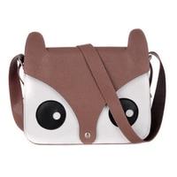 Wholesale 5* Dark Brown Korean Cute Pu Leather Retro Owl Fox Bag Messenger Crossbody Handbag