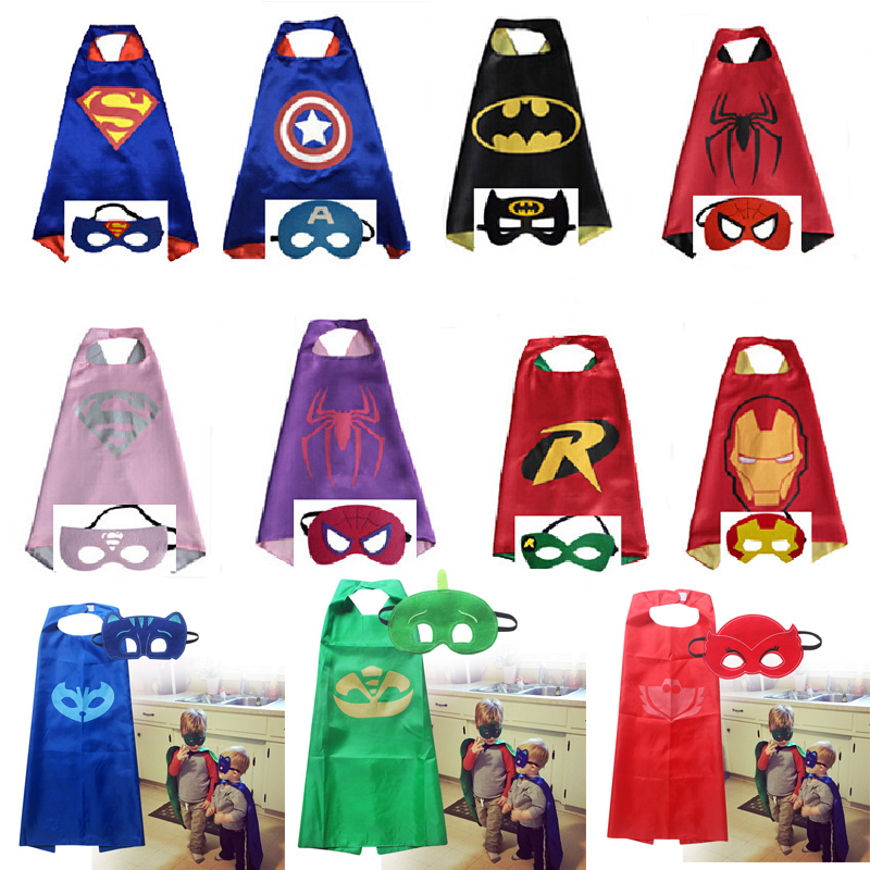 New 11 styles Mask+cape kids baby superhero spider man superman batman spiderman cosplay carnival birthday party costume clothes 1pc 24cm adult kids suitable spiderman cosplay costume spider man glove spider man launchers toy emitter with gift box
