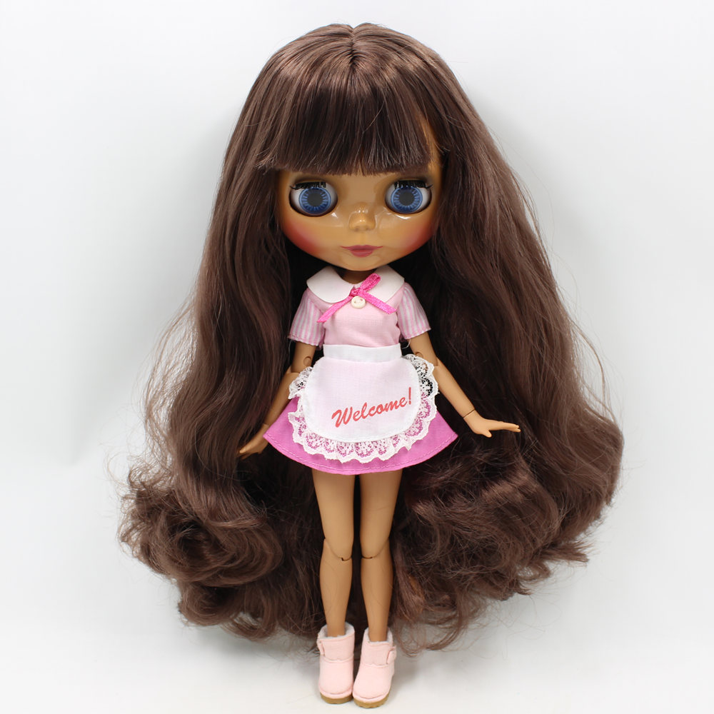 Nude Blyth doll Joint body bjd 1/6 doll Brwon curly hair with bangs fashion DIY model toys for girlsNude Blyth doll Joint body bjd 1/6 doll Brwon curly hair with bangs fashion DIY model toys for girls
