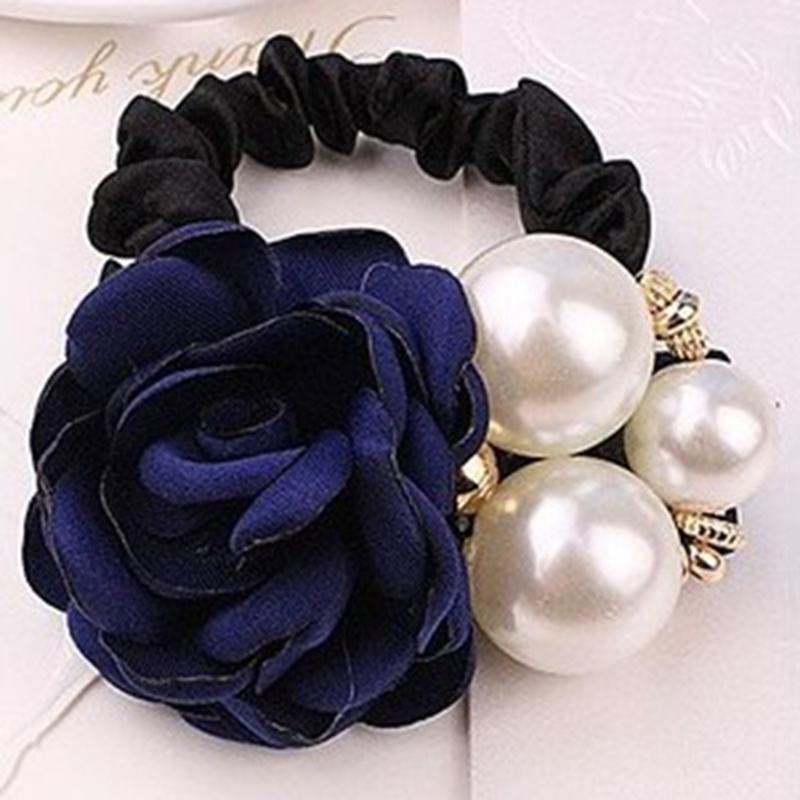 women hair rope Black Rubber Rose Pearls hairband cloth fashion retro solid floral inlaid party birthday girl chic accessories