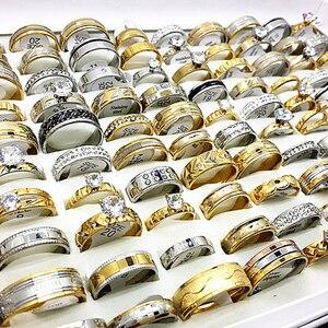 Image 3 - ขายส่ง 50pcs ชุดแหวนเงินทองผู้ชายผู้หญิง rhinestone zircon สแตนเลสสตีลโลหะแฟชั่นหมั้นเครื่องประดับ