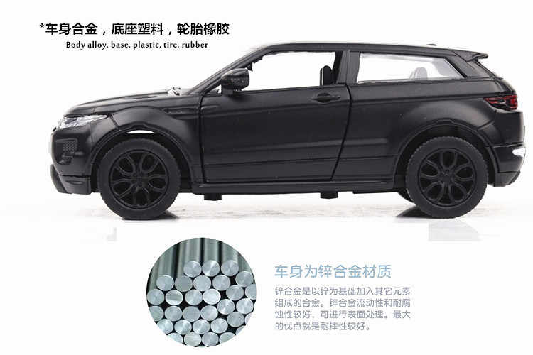 Hot 1:36 wheels scale simulation diecast cars Land Rovers evoque metal model pull back alloy toys collection for kids gifts