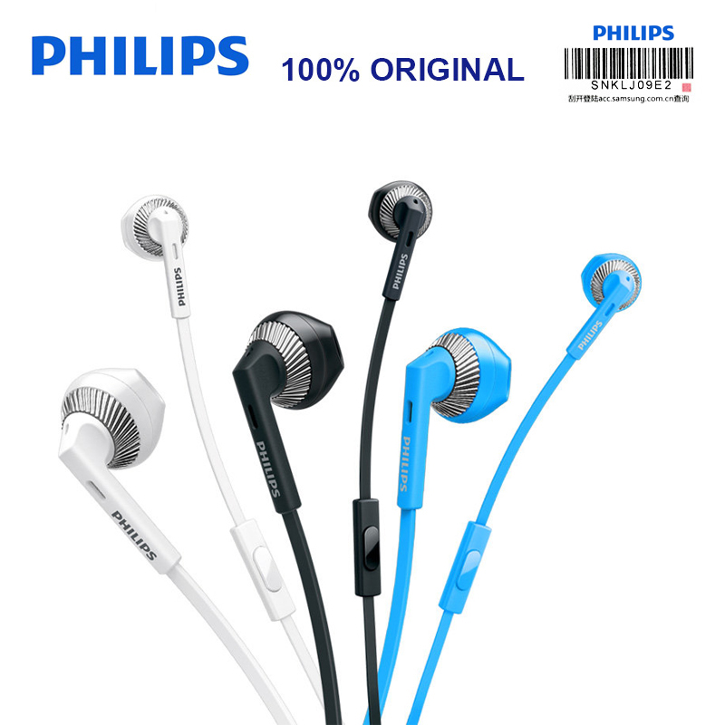 Philips SHE3205 Wired Headset with Microphone 3.5mm Plug Support  Computer Ipad MP4 Smartphone for Galaxy 8 Xiaomi Official Test bead