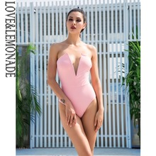 LOVE&LEMONADE Love Lemonade Pink Deep V-Neck Slim Body Beach bodysuit LM1170