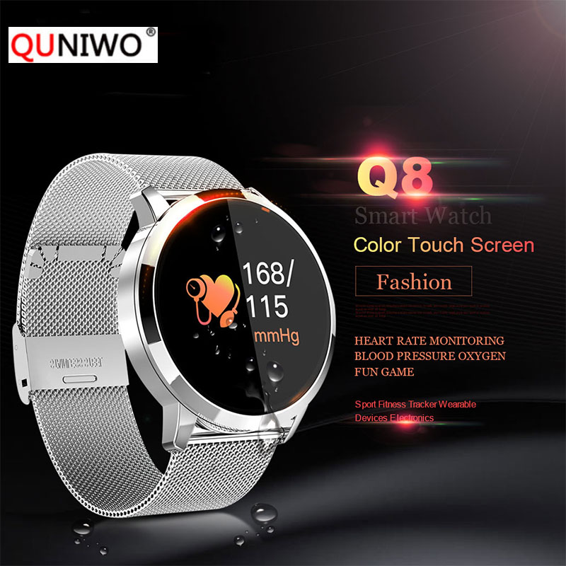 Q8 Heart Rate Monitor Smart Watch Blood Pressure Oxygen Fitness Smart Watch IP67 Pedometer Men Women Sport Fitness Watches