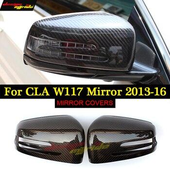 Untuk Mercedes CLA Kelas W117 C117 X117 Serat Karbon Cermin Penutup Topi 1M Gaya CLA45 Terlihat Langsung 1:1 Penggantian 2013-2015