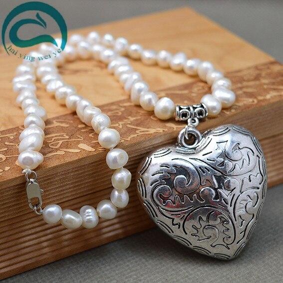 Perles uniques bijouterie collier de perles deau douce Baroque naturel fait avec coeur en argent collier femme bijoux finsPerles uniques bijouterie collier de perles deau douce Baroque naturel fait avec coeur en argent collier femme bijoux fins