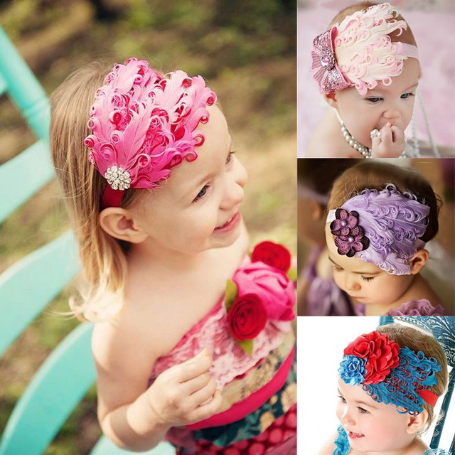 53e7685092306 Hair accessories baby girl headbands Feather flowers headband for 3  months-5 years baby 9