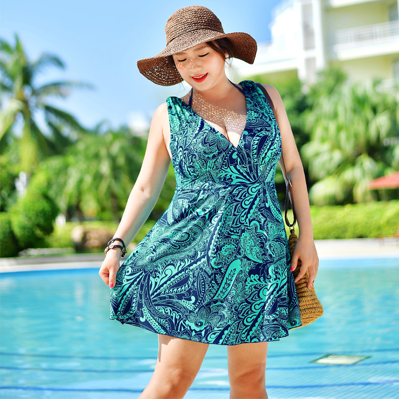 New swimsuit female one piece swimsuit shoulder skirt style swimwear  Conservative big yards swimsuit women-in Body Suits from Sports    Entertainment on ... e0e96d7786d7