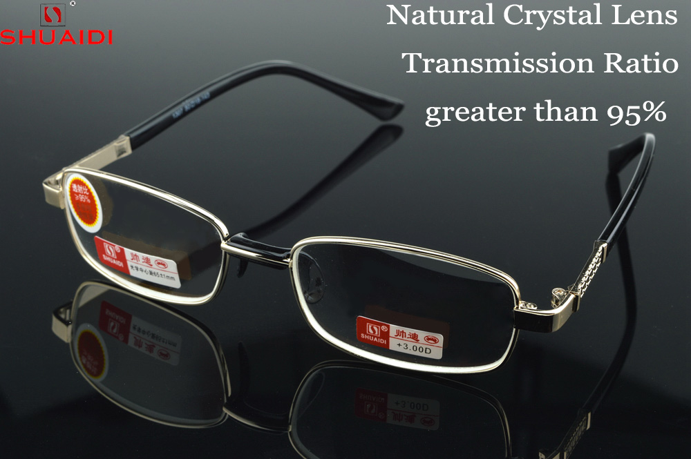 = Shuai Di marca = Natural Lente de Cristal lleno-borde níquel Aleación de lujo hombres mujeres gafas de lectura + 1 1,5 2 2,5 3 3,5 4