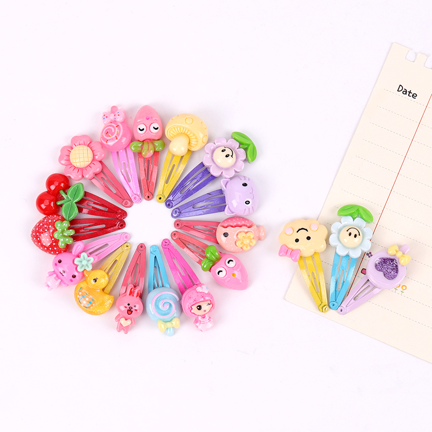 10PCS Mix Color Styles Flower Cartoon Hairpins Barrettes Lovely Kids Girls 3cm Multicolor Hair Clip Headwear Accessories