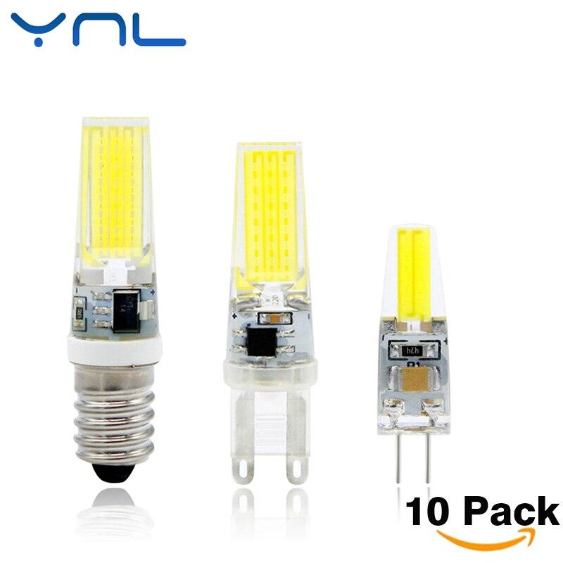 Ynl 10 шт./лот Светодиодные лампы G4 <font><b>G9</b></font> E14 затемнения 220 В 6 Вт 9 Вт <font><b>COB</b></font> SMD <font><b>LED</b></font> заменить галогенные люстры Лампы для мотоциклов