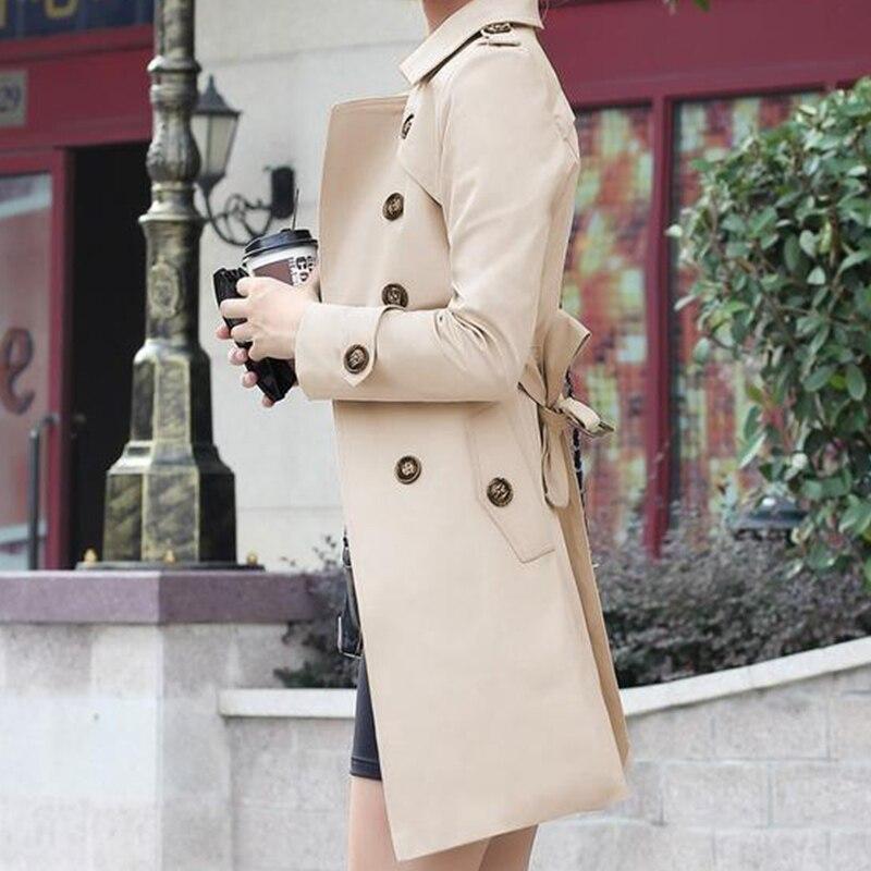 1 ud. Gabardina para Mujer doble pecho ajustado ajuste largo primavera abrigo Casaco femenino Abrigos Mujer otoño prendas de abrigo 4