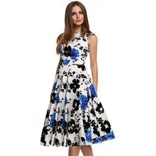 2016 Summer New Casual Fashion Elegant Vintage Slim Floral Print Women Ball Gown Swing Dress Rockabilly Pinup Party Dress