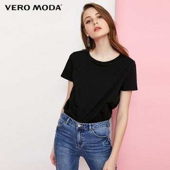 Vero Moda футболка женская Женский Круглый вырез многоцветный Базовый стиль минималистский Футболка Топ | 318101551