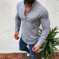 Camisetas de lino para hombre de Venta caliente de Litthing camisas de lino de Primavera Verano sólido cuello en V blusas Chemise Homme ropa de hombre Camisa Masculina