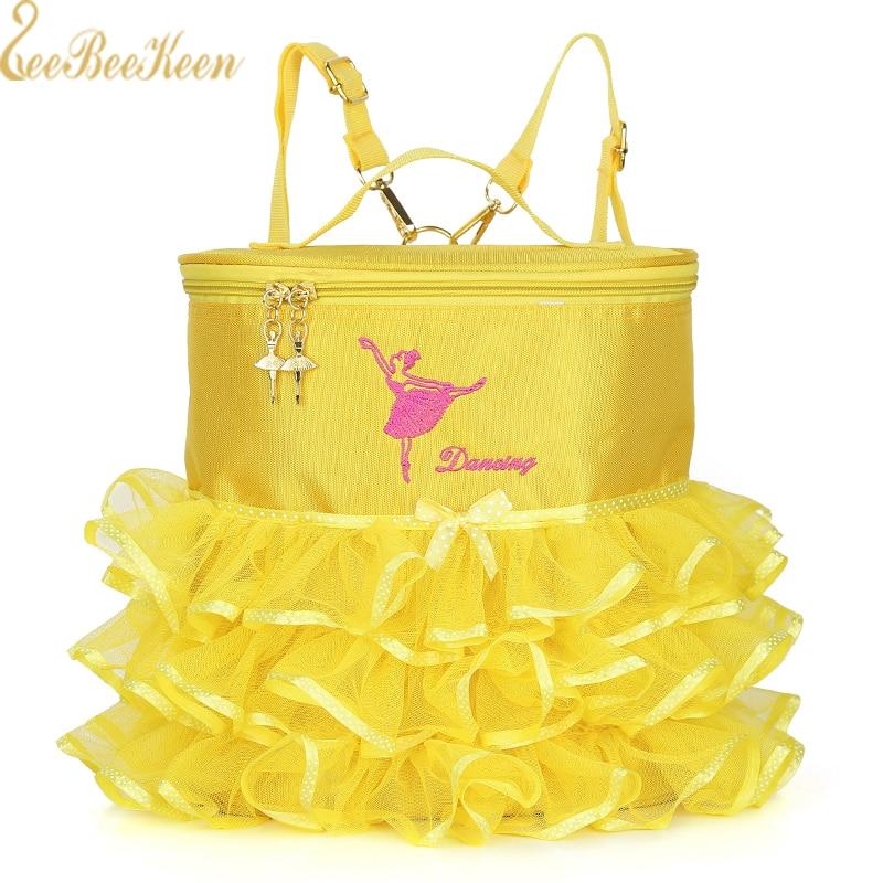Expressive Ballet Dance Bag For Girls Embroidered Gold Buckle Gym Bags Wome Ballet Sports Dance Kid's Backpack Handbag Dual-use Canvas Bag