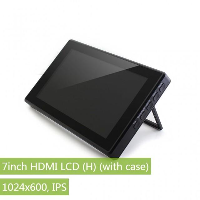 Waveshare 7 pouces HDMI LCD (H) + boîtier, 1024x600, IPS, écran tactile capacitif, prend en charge WIN10 IOT, Win 10/8. 1/8/7, Raspberry Pi, banane Pi, etc.