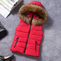 2016 Plus Size Winter Cotton Hooded Vest Women Warm Solid Color Fur Collar Outwear Coat Sleeveless Jacket  Colete Feminino YC454