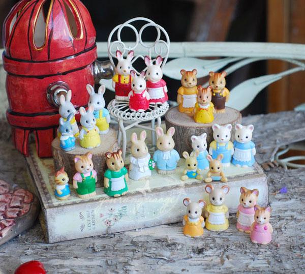 wholesale foreign original bulks 100pc forest animal family mini cute kawaii kitten bunny bear doll kids