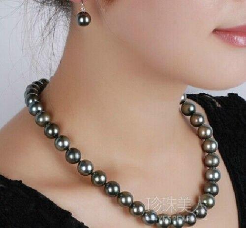 Nouveau collier de perles noires de tahiti naturelle 9-10 MM fermoir en argent 925 18Nouveau collier de perles noires de tahiti naturelle 9-10 MM fermoir en argent 925 18