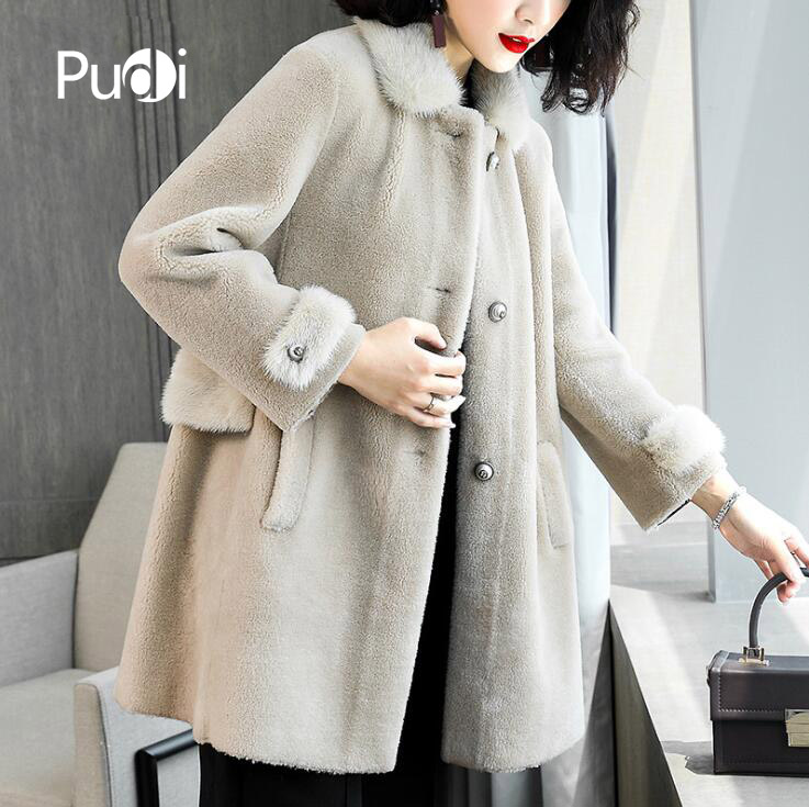 PUDI B181156 de femmes hiver chaud réel laine veste gilet véritable vison col de fourrure loisirs fille manteau dame veste pardessus